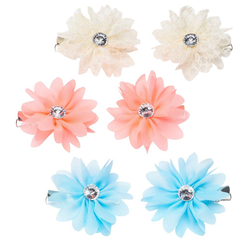 Girls 4-16 6-pk. Neon Flower Hair Clips