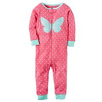 Baby Girl Carter's Polka-Dot Butterfly One-Piece Pajamas