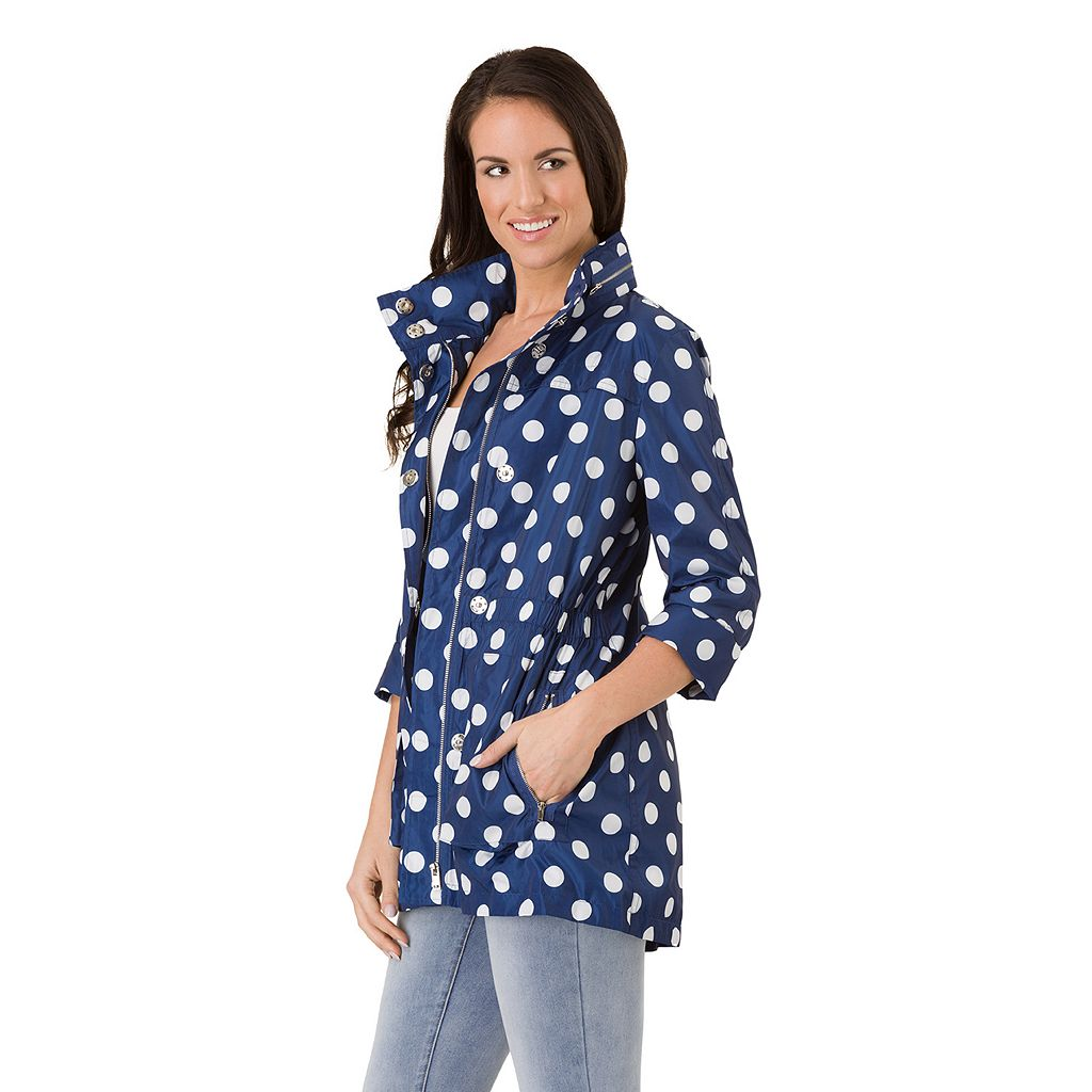Women's Haggar Hooded Polka-Dot Elastic-Waist Jacket