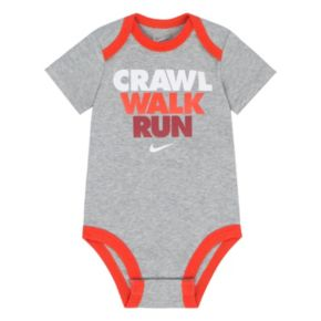 "Baby Boy Nike ""Crawl Walk Run"" Graphic Bodysuit"