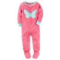 Baby Girl Carter's Print Applique One-Piece Pajamas