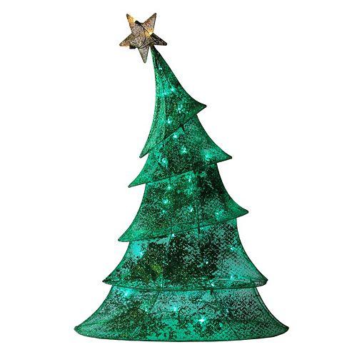 pre lit glitter mesh tree outdoor christmas decor - Pre Lit Outdoor Christmas Trees