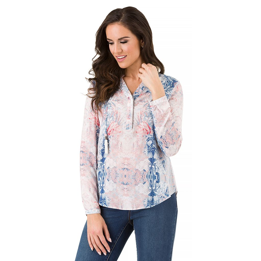 Women's Haggar Tassel Neck Blouse