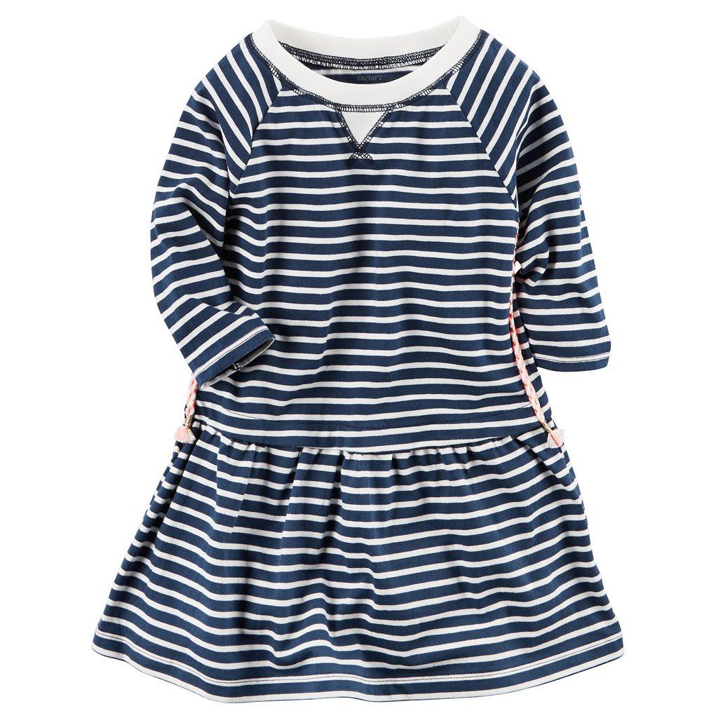 Toddler Girl Carter's Long Sleeve Striped Knit Dress