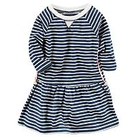 Toddler Girl Carter's Long Sleeve Striped Knit Dress