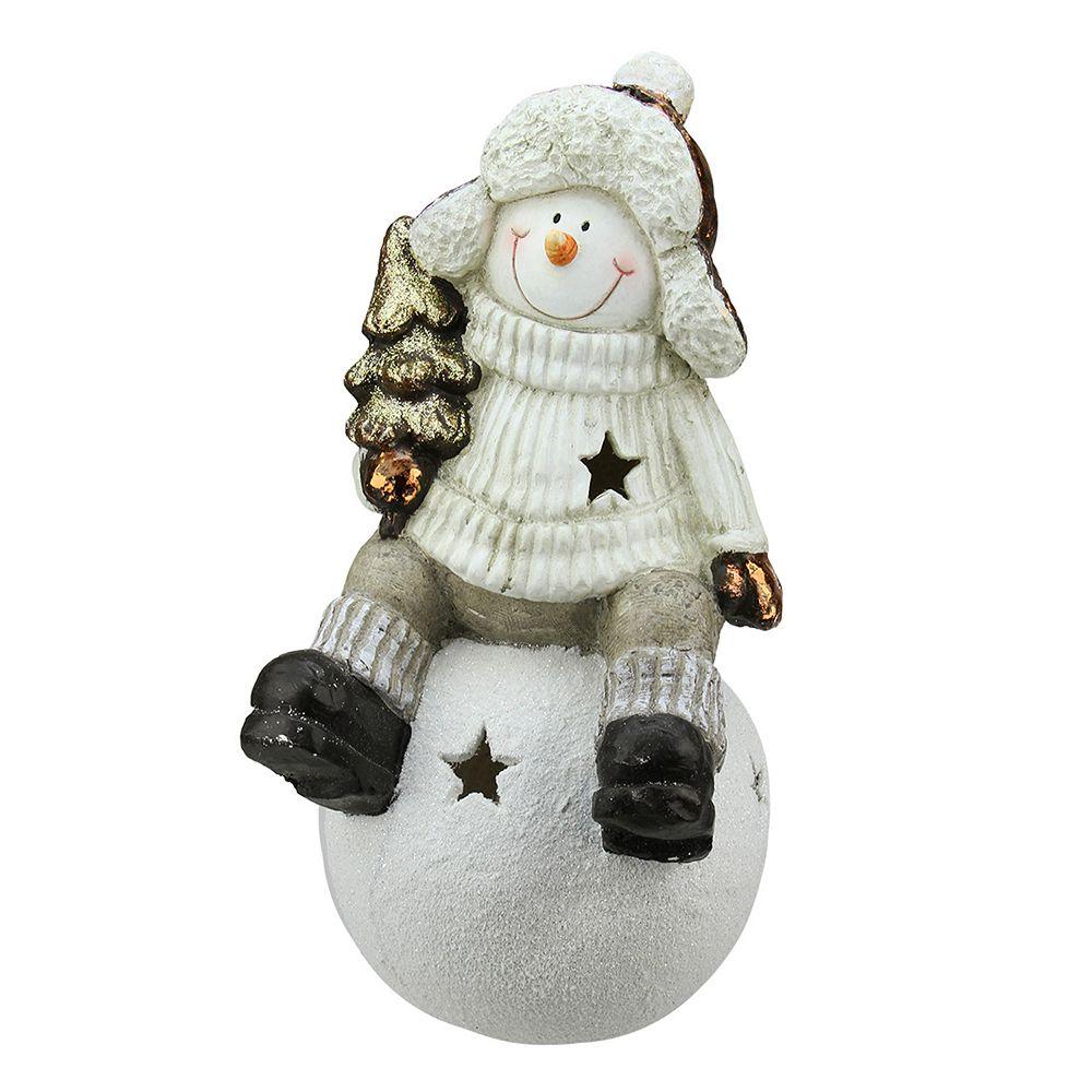 Metallic Snowball Snowman Tealight Candle Holder