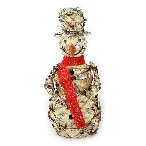 Pre-Lit Artificial Berry & Burlap Snowman Outdoor Christmas Decor