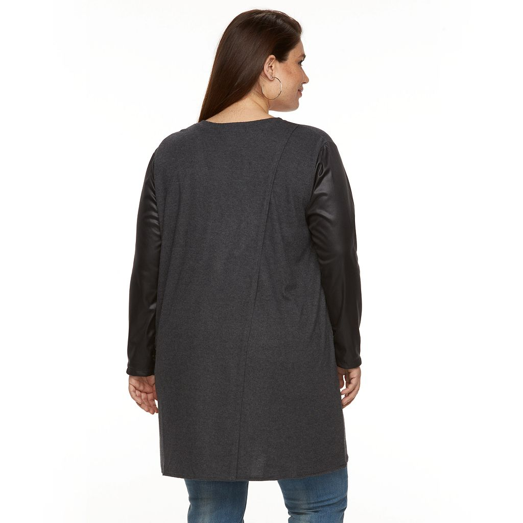 Plus Size French Laundry Faux-Leather Open-Front Cardigan