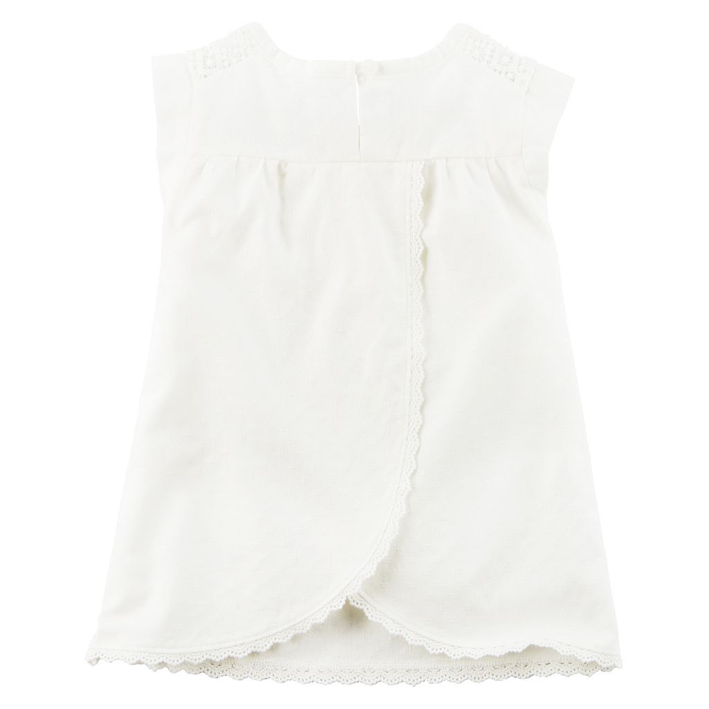 Toddler Girl Carter's White Dobby Woven Tulip Hem Top