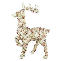 Pre-Lit Burlap & Artificial Berry Reindeer Outdoor Christmas Decor