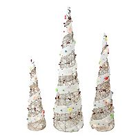 Pre-Lit Cone Christmas Tree Outdoor Decor 3-piece Set