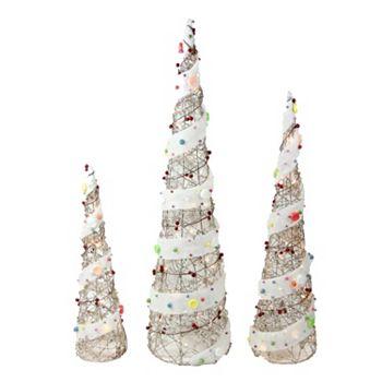 pre lit cone christmas tree outdoor decor 3 piece set - Pre Lit Outdoor Christmas Tree