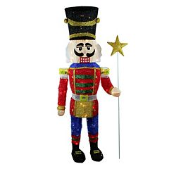 Pre-Lit Sparkling Tinsel Nutcracker Outdoor Christmas Decor