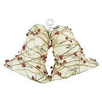 Pre-Lit Artificial Berry & Burlap Double Bell Christmas Wall Decor