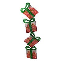 Stacked Tinsel Gift Box Outdoor Christmas Decor