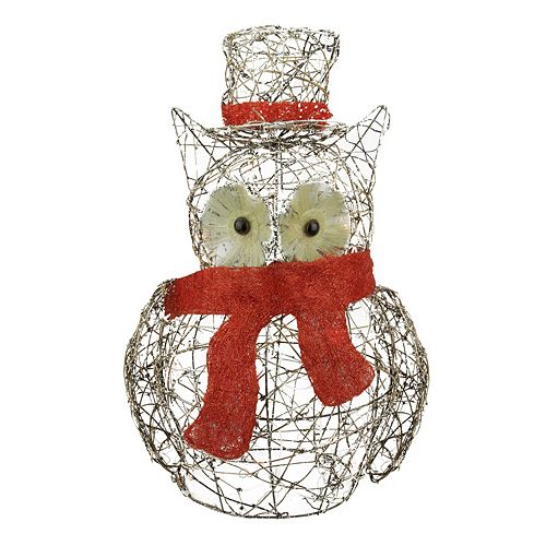 Pre-Lit Glitter Owl Outdoor Christmas Decor