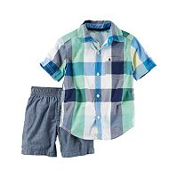 Baby Boy Carter's Plaid Shirt & Chambray Shorts Set