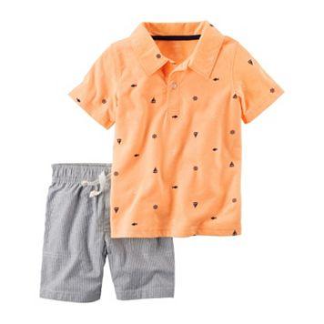 Baby Boy Carter's Sailboat Polo & Striped Shorts Set