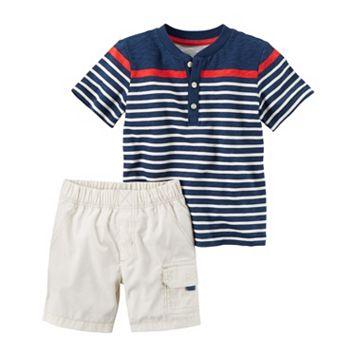 Baby Boy Carter's Striped Henley & Cargo Shorts Set