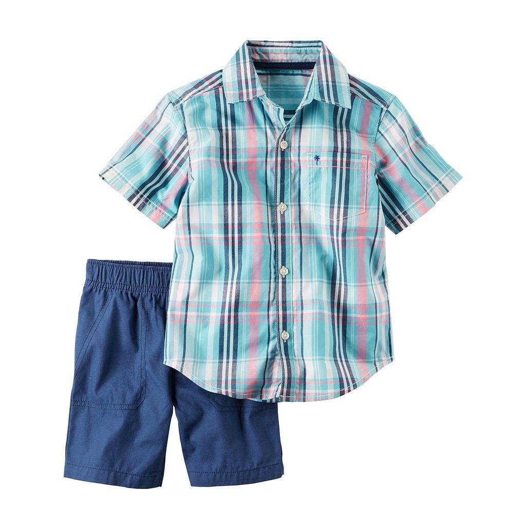 Baby Boy Carter's Plaid Shirt & Solid Shorts Set