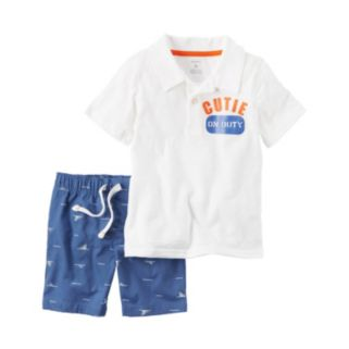 "Baby Boy Carter's ""Cutie on Duty"" Polo & Shark Shorts Set"