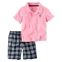 Baby Boy Carter's Solid Sailboat Polo & Plaid Sorts Set