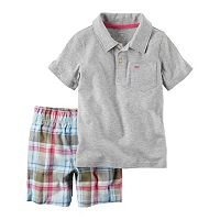 Baby Boy Carter's Solid Whale Polo & Plaid Shorts Set