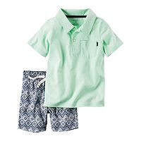 Baby Boy Carter's Solid Polo & Geometric Shorts Set