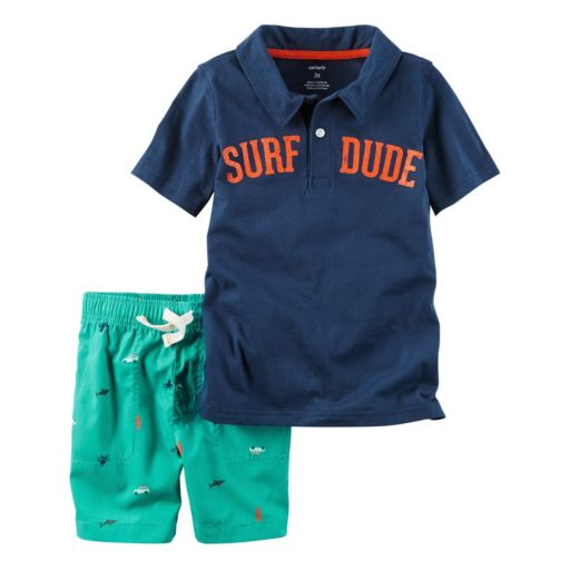 "Baby Boy Carter's ""Surf Dude"" Polo & Print Shorts Set"