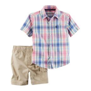 Baby Boy Carter's Plaid Shirt & Cargo Shorts Set