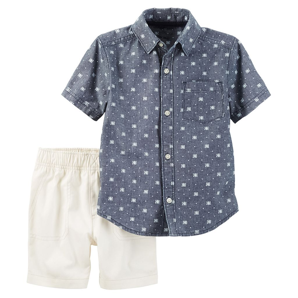 Baby Boy Carter's Patterned Chambray Short Sleeve Button-Down Shirt & Shorts Set