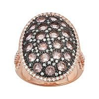14k Rose Gold Over Silver Simulated Morganite & Cubic Zirconia Oval Ring