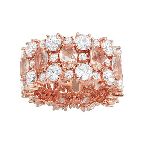 14k Rose Gold Over Silver Simulated Morganite & Cubic Zirconia Ring