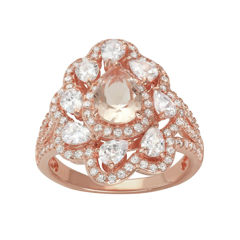 14k Rose Gold Over Silver Simulated Morganite & Cubic Zirconia Scalloped Ring