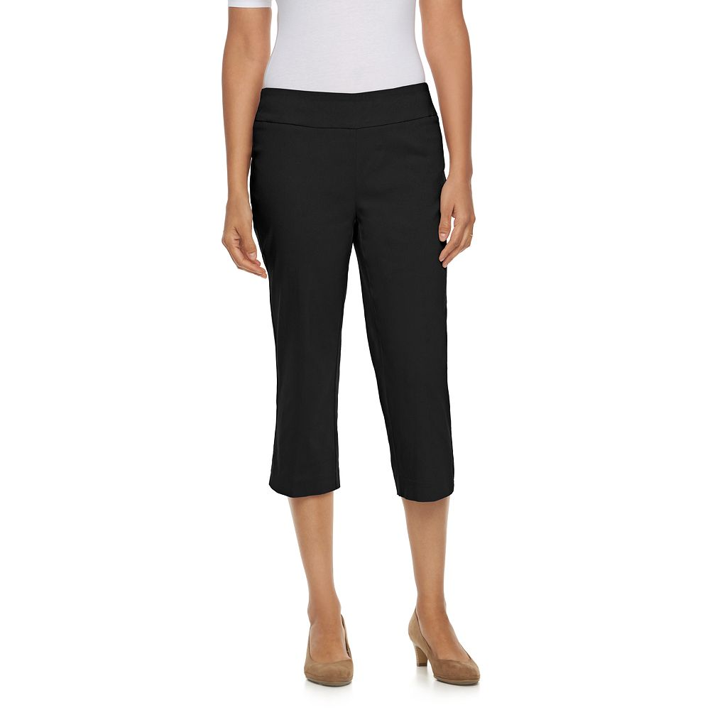 For work, choose our petite women's pants in an array of smooth, stretch fabrics. Pair with a button down shirt and pumps for a perfectly polished look. Weekend fun starts with cool, petite capris in fresh colors, your favorite tee and a pair of espadrilles.
