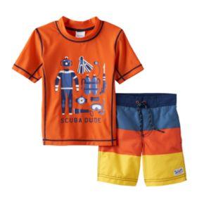 "Baby Boy Carter's ""Scuba Dude"" Rash Guard & Swim Trunks Set"