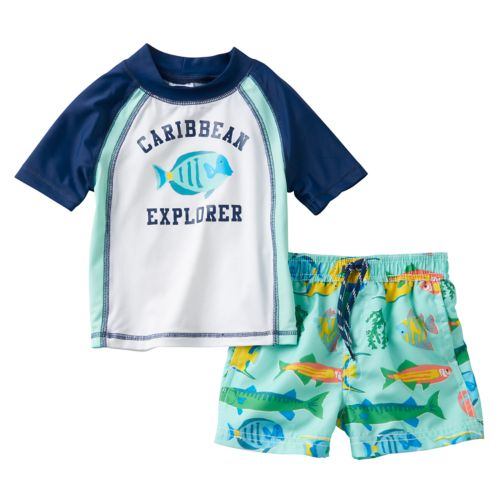 "Baby Boy Carter's ""Caribbean Explorer"" Rash Guard & Swim Trunks Set"