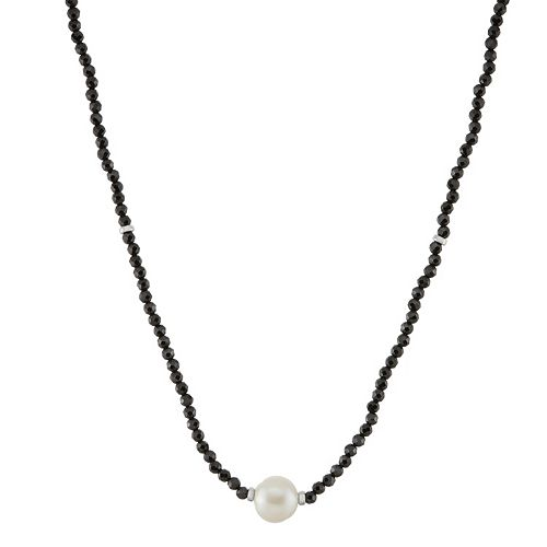 Freshwater Cultured Pearl & Black Spinel Necklace