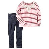 Toddler Girl Carter's French Terry Striped Crochet Top & Jeggings Set