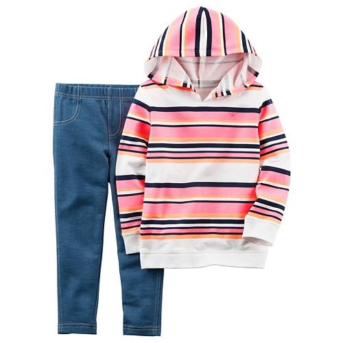 9a704236b9a78 Toddler Girl Carter's French Terry Striped Hoodie & Jeggings Set