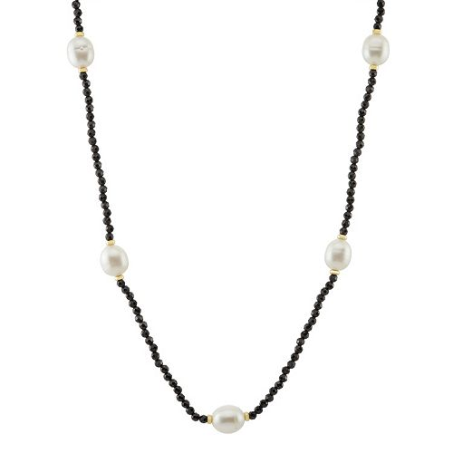 Freshwater Cultured Pearl & Black Spinel Station Necklace
