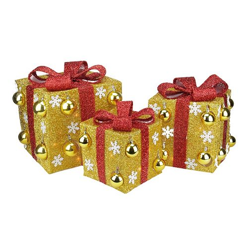 Pre-Lit Tinsel Gift Box Outdoor Christmas Decor 3-piece Set