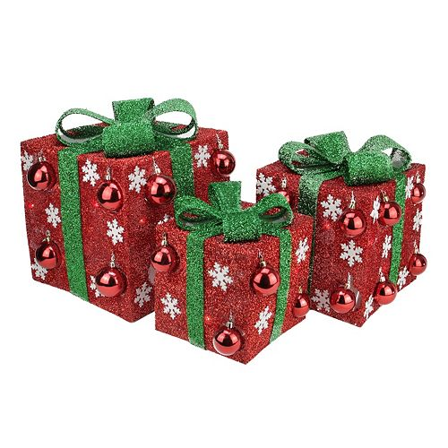 pre lit tinsel gift box outdoor christmas decor 3 piece set - Outdoor Lighted Tinsel Christmas Decorations