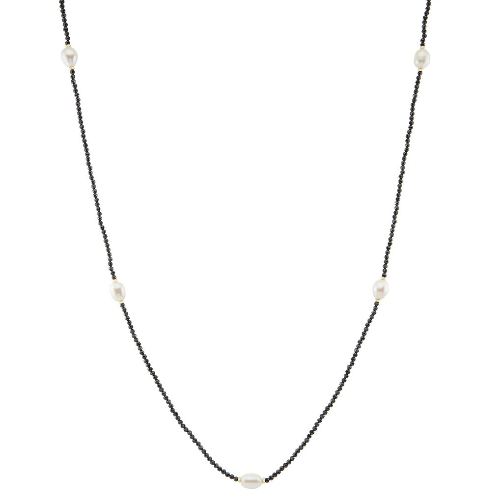 Freshwater Cultured Pearl & Black Spinel Long Station Necklace