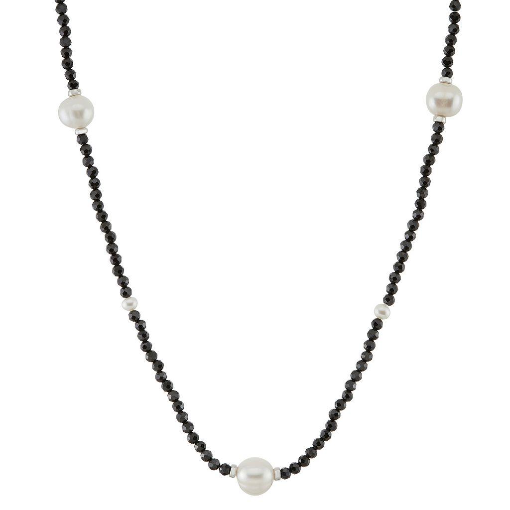 Freshwater Cultured Pearl & Black Spinel Station Necklace