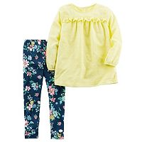 Toddler Girl Carter's Yellow Swiss Dot Top & Floral Patterned Leggings Set