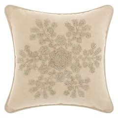 Mina Victory Home for the Holidays Beaded Snowflake Throw Pillow