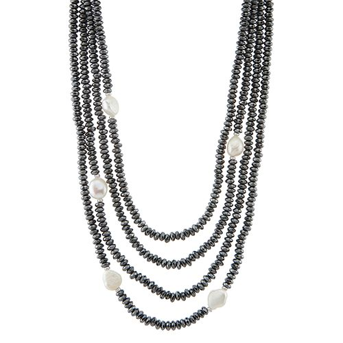 Freshwater Cultured Pearl & Hematite Multi Strand Necklace