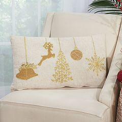 Mina Victory Home for the Holidays Ornaments Oblong Throw Pillow