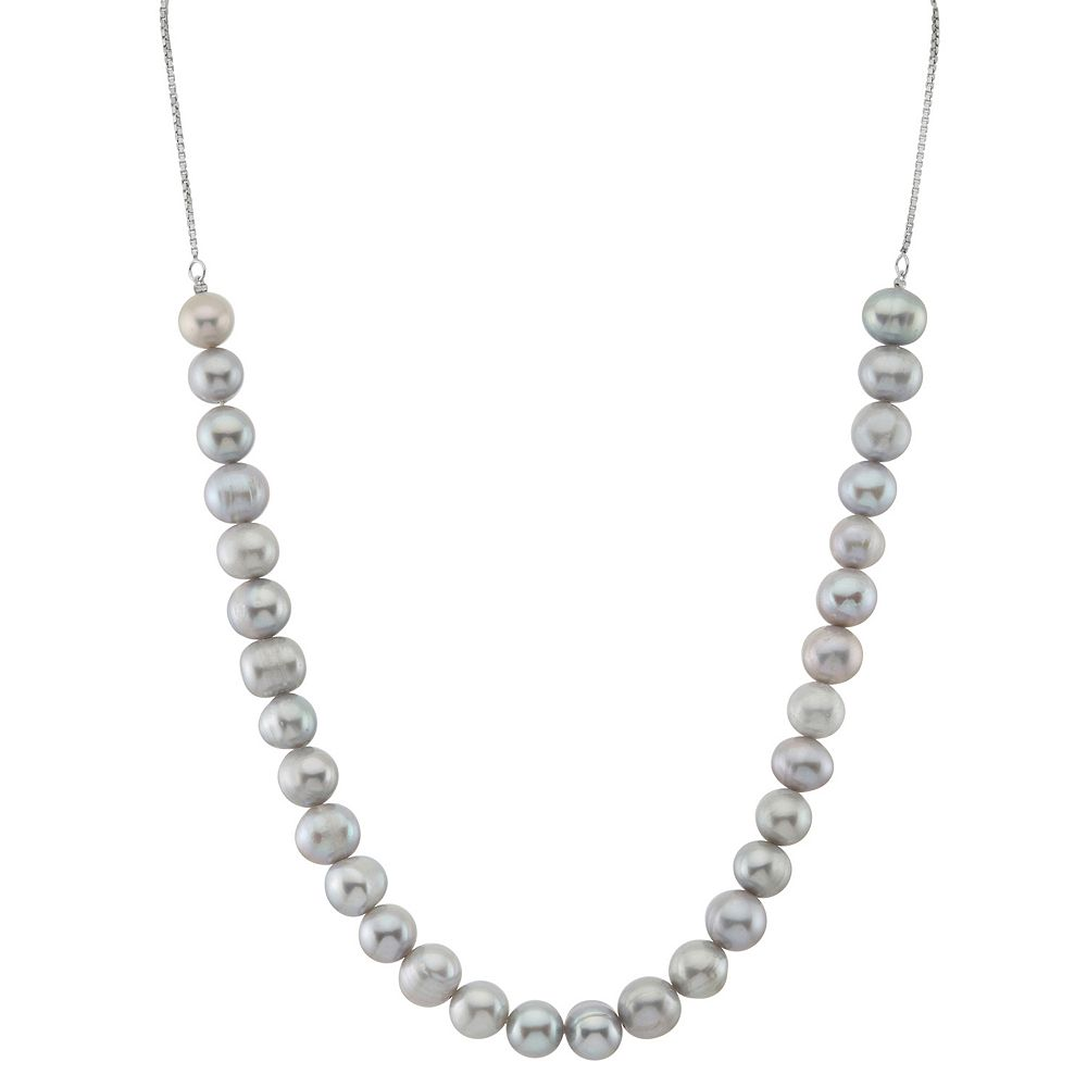 Sterling Silver Dyed Freshwater Cultured Pearl Adjustable Necklace